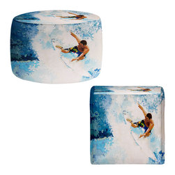 DiaNoche Designs - Ottoman Foot Stool by Martin Taylor - Catch the Next Wave - Lightweight, artistic, bean bag style Ottomans.  Coming in 2 squares sizes and 1 round, you now have a unique place put rest your legs or tush after a long day!. Artist print on all sides. Dye Sublimation printing adheres the ink to the material for long life and durability. Printed top, khaki colored bottom, Machine Washable, Product may vary slightly from image.