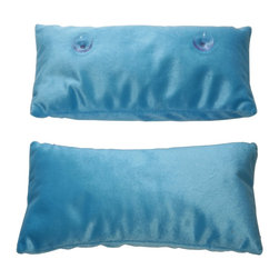 """Living Healthy Products - Luxury Bath Pillow - Sink into the tub and rest your head against this ultra soft cotton microbead quick dry pillow for the ultimate in relaxation. Trimmed with simple blue, it's the nicest bath pillow we've ever seen for the price! lush Bath Pillow is a soft pillow with suction cups that adhere to the back of your tub.  Size: 13"""" L x 7 3/4"""" W"""