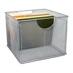 Design Ideas - Mesh File Box - Silver - Your office will become an organization station with our silver mesh File Box.