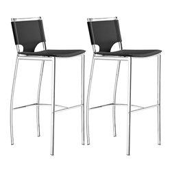 "Zuo - Set of 2 Zuo Lark 30"" High Black Bar Stools - This exceptional Zuo bar stool set is a wonder of modern furniture design. With an artistic cut to the black leatherette seat it offers a clean modern design. The steel frame is finished in chrome as is the sturdy bar footrest. From the Zuo Modern collection. Set of 2. Black leatherette seat and back. Chromed steel frame. Armless bar stools. 40 1/2"" high. 15 1/2"" wide. 19 1/2"" deep. Seat is 30"" high 15 1/2"" wide and 16"" deep.  Set of 2.  Black leatherette seat and back.   Chromed steel frame.   Armless bar stools.  40 1/2"" high.   15 1/2"" wide.   19 1/2"" deep.  Seat is 30"" high 15 1/2"" wide and 16"" deep."