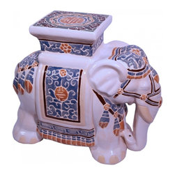 "n/a - 18""h. Asian Ceramic Assorted Color Hand Painted Elephant Garden Stool - Our Asian elephant stool is 17"" high and makes a unique end table or use several as a coffee table base (use with a glass top), sitting stool, or as a stand. This ceramic item can be used indoors or outdoors. We advise that this item be stored indoors during freezing winter months. It will complement any modern, traditional, or rustic decor. Hand carved with arabesque. It will bring years of enjoyment."