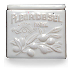 "Cuisine de Provence - Salt Box - The white-on-white of glazed ceramic looks classic in any kitchen or dining room, and the Cuisine de Provence Salt Box inhabits this visual space with much aplomb through its low relief of an olive branch and the French words ""fleur de sel: Nice."" Block lettering and a simple, tight-fitting lid keep the container's look simple for a charm that transcends styles and themes."