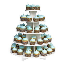 The Smart Baker - The Smart Baker 5 Tier Round Cupcake Tower - This Cupcake Tower is made in separate interlocking pieces. When all layers are placed together, this Cupcake Tower has FIVE tiers. You can comfortably fit 70 standard cupcakes or 135 mini cupcakes with some room to spare. If you need to fit, more you can reduce the spacing between your cupcakes and you can fit as many as 90 standard cupcakes or 150 minis. However, for smaller occasions such as family dinners, intimate parties, and other smaller scale events, you can use the number of tiers you need. It is a sturdy construction and will safely hold all of your precious goodies, no matter which size you choose to use it in.