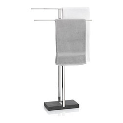 Blomus - Menoto Towel Stand - Polished Finish. Space saving. Weighted polystone base is stylish and weighted. Used in bathrooms. Made from polished stainless steel. 6.30 in. L x 19.69 in. W x 33.94 in. H. Designer: Floz design. Imported from Italy