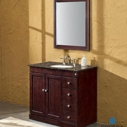 "Fresca - Fresca Elisos 36"" Classic Single Sink Bathroom Vanity - The elegant Fresca Elisos bathroom vanity is configured with four pull drawers adjacent to a double door and dotted with brushed nickel hardware. The handy design pairing of this bathroom vanity provides an ample 22"" of interior storage. And at a width of 36"" and a height of 35"", this vanity is ideal for the medium sized bathroom.Built of a solid aspen wood frame, this bathroom vanity's finish is a striking espresso shade that complements countertops of travertine stone in creamy honey, flecked Baltic brown, or rich black galaxy granite. Sold separately, the optional 26"" wide x 34"" high Elisos Classic Mirror can enhance the elegance offered by this classically styled bathroom vanity.Please note: Mirror, Faucet(s), P-traps and Pop-Up Drains are optional and are NOT included in the price of the Fresca Elisos bathroom vanity.DecorPlanet is proud to offer Fresca Bathroom products. Fresca is a leading manufacturer of high-quality vanities, accessories, toilets, faucets, and everything else to give you the freshest bathroom in the neighborhood. Fresca is known for carrying the latest and most popular styles in modern and contemporary bathroom design that are made with high quality materials and superior workmanship."