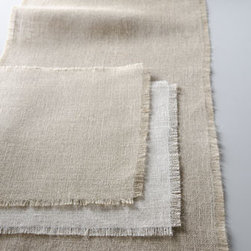 "Horchow - Natural Burlap Runner, 16"" x 90"" - Unadorned for an understated glamour or dressed up with colorful accessories, these elegantly simple table linens add natural color and texture to table settings. Handcrafted of jute. Fringed edges. Dry clean. Plac mat, 15"" x 18"". Imported."