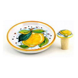 Artistica - Hand Made in Italy - Limoni: Bottle Coaster and Wine Stopper (Set) - Limoni Collection: