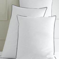 Garnet Hill - AllerSure Hypoallergenic Down Pillow - King - Natural fibers blend with leading-edge innovation for a hypoallergenic pillow that will give you a great night's sleep. This pillow has hypoallergenic Hyperclean down thoughtfully encased in 500 thread count cotton sateen. Special Barrier Weave fabric prevents down from poking through or leaking out and interrupting sleep. Finished with satin cording. Medium firmness accommodates all sleeping positions. 600 fill power. Made in USA.