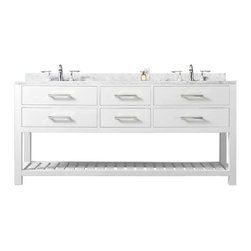 """Water Creation - Madalyn Pure White Bathroom Vanity 24"""", 30"""", 60"""", 72"""", 72"""" Wide, Vanity Only - Water Creation Madalyn 72W 72-Solid White Double Sink Bathroom Vanity From The Madalyn Collection"""