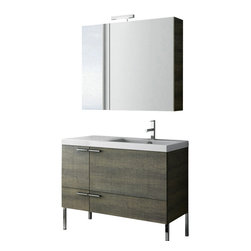 ACF - 39 Inch Grey Oak Bathroom Vanity Set - This Italian-made bathroom vanity set features a waterproof panel made of engineered wood in a beautiful grey oak finish.