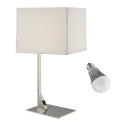 Design Classics Lighting - Modern Table Lamp with Shade and LED Bulb - 6090-1-09 / SH7354/ 8W LED - The sleek design of this table lamp will make an immediate impact on the decor of any room. Included is an energy savings LED bulb which lasts up to last 6 times longer than compact fluorescent bulbs and 35 times longer than an incandescent. Features a medium base with white diffuser and vented heat sink. Takes (1) 9.5-watt LED A19 bulb(s). Bulb(s) included. Dry location rated.