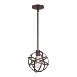 "Franklin Iron Works - Contemporary Industrial Atom 8"" Wide Edison Bronze Mini Pendant Light - Industrial style and contemporary decor combine for a dramatic look. This bronze mini pendant light will make a fabulous statement piece in a kitchen or entryway. Inspired by an atom the Edison bulb is enclosed in a round criss-crossing circle cage. From Franklin Iron Works. Bronze finish. Atom shaped cage. Includes one 60 watt Edison bulb. Includes one 6"" rod three 12"" rods. 8"" wide. 8"" high. Canopy is 4 1/2"" wide. Hang weight is 3 lbs.  Bronze finish mini pendant light.  Atom shape cage.  Includes one 60 watt Edison bulb.  Includes one 6"" rod three 12"" rods.  8"" wide.  8"" high.  Canopy is 4 1/2"" wide.   Hang weight is 3 lbs."