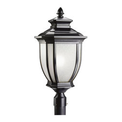 Kichler 1-Light Outdoor Fixture - Black Painted Exterior - One Light Outdoor Fixture. With an unmistakable British influence, this large elegant post top displays enduringly good-taste for exterior applications. A black finish with white-linen glass emits style and refinement for your home. 1-light, 200-w. Max. 12 sq. , Height 25-1/2. Post not included. UL listed for wet location.