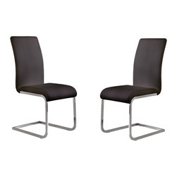 Armen Living - Amanda Side Chair, Set Of 2 - Contemporary lifestyle comes to in full circle with the beautifully designed Amanda Corner Dining Set. Made with Vinyl.