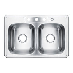 """AKDY - AKDY 7"""" Depth AG-ZT3322A074 Stainless Steel Double Bowl Top Mount Sink Kit, With - Along with its classically angled corners and gently curving faucet deck, the AKDY sink offers innovative technology for quiet performance. The stainless-steel double basin features an engineered sound-absorption system that significantly reduces disposal and dishwashing noise for a quieter kitchen environment. A raised outer rim helps keep your counter dry."""