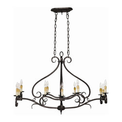 World Imports - Chaumont 12 Light Island Fixture in Aged Iron - Manufacturer SKU: WI362932. Bulbs not included. Aged Iron and Ivory Dripped candle sleeves are included. Chelton Collection. 12 Lights. Power: 60W. Type of bulb: Candelabra. Aged Iron finish. 10 ft. Chain & 12 ft. Wire. Canopy 10 in. W 6 in. H. 42 in. W x 28 in. D x 28 in. H (15.8 lbs.)This iron collection can illuminate any number of styled interiors such as Colonial, Country, Southern Charm, Cabin or Cottage.