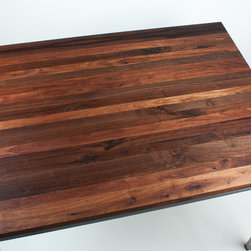 "Walnut Wood Works - Black Walnut Butcher Block Counter Top - Walnut Wood Works Counter Tops are 2"" thick solid Black Walnut. Accents in American Cherry or Red Oak are no charge."