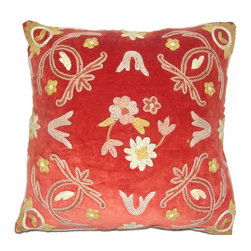 Crewel Fabric World - Crewel Pillow Art Nouveau Red Cotton Velvet 16x16 Inches - Hand embroidered with 100% wool on cotton base Backed in solid-color canvas * Insert is sold separately �ۢ Hidden zipper �ۢ Dry-clean Recommended. Machine Washable �ۢ Handmade in Kashmir