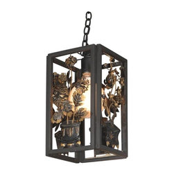 Pre-owned Mid-Century Chinois Lantern - Hang On! This unique lantern has a black wooden frame and hand-cut black and gold floral design on all four sides. Fitted with a frosted globe bulb.