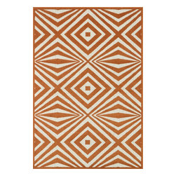 """Loloi Rugs - Loloi Rugs Catalina Collection - Orange / Ivory, 9'-2"""" x 12'-1"""" - Made of very weather-resilient polypropylene, the Catalina Collection features indoor/outdoor rugs with bold patterns and can't-miss, vibrant colors that look amazing in indoor or outdoor spaces. Each design is power loomed in Egypt and tested withstand UV rays and sunshine."""