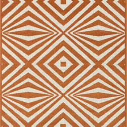 "Loloi Rugs - Loloi Rugs Catalina Collection - Orange / Ivory, 7'-10"" x 10'-9"" - Made of very weather-resilient polypropylene, the Catalina Collection features indoor/outdoor rugs with bold patterns and can't-miss, vibrant colors that look amazing in indoor or outdoor spaces. Each design is power loomed in Egypt and tested withstand UV rays and sunshine."