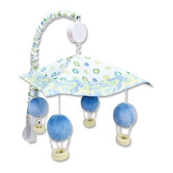 """Trend Lab - Mobile - Dr. Seuss Blue Oh, The Places You'll Go! - Encourage eye tracking and sound perception skills with this Dr. Seuss Blue Oh, the Places You'll Go! Musical Mobile by Trend Lab. Mobile canopy features a dot print framed by a swirl print in cornflower blue, powder blue, grass green, key lime and soft yellow. Four matching plush hot air balloons are suspended from decorative white ribbon and slowly rotate to Brahms' Lullaby. Mobile easily attaches to most cribs. Mobile measures 18"""" tall by 20"""" wide. This mobile coordinates with the Dr. Seuss Blue Oh, the Places You'll Go! collection. Product sold under license from Dr. Seuss Enterprises, L.P."""
