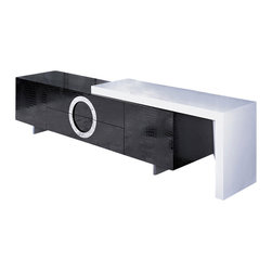 VIG Furniture - A&X Modern Lacquer TV Stand - This TV unit is beyond spectacular!  With a beautiful high gloss lacquer crocodile texture finish, it is sure to fill in that bland wall lacking of that special addition.