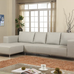 Dana Gray Leather Sectional Sofa - Available in right or left facing chaise, this modern Dane Sectional Sofa will fit perfectly into any living room area. Dane features an unrivaled design, defined by deep cushions, wide track arms, chrome tubing base and Gray leather upholstery.