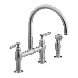 KOHLER - KOHLER K-6131-4-VS Parq Deck-Mount Kitchen Faucets with Spray - KOHLER K-6131-4-VS Parq Deck-Mount Kitchen Faucets with Spray in Stainless Steel