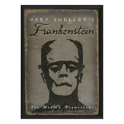 """The Artwork Factory - """"Frankenstein"""" Print - Set a dark and spooky tone in your hallway or study with this cool, European-inspired Frankenstein print. Made in the U.S. and crafted from high-resolution, acid-free, fade-resistant paper with 12-color pigment ink, it comes ready to hang, with a wood frame, glass and metal sawtooth hangers."""