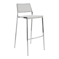 Aaron Stackable Bar Stool, White, Set of 2