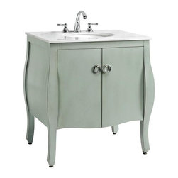 Home Decorators Collection - Savoy Bath Vanity - Adding a touch of elegant sophistication to your bath decor is easy with this sink cabinet from our Savoy Collection. This distinctive furnishing will bring casual elegance to any bath decor with its curvacious design, lovely hardware and deep, lustrous finish. Constructed with a sturdy, solid wood frame. A birch veneer ensures lasting beauty and durability. Available in your choice of beautiful finishes.  Find the perfect faucet to complete your new bath vanity at The Home Depot