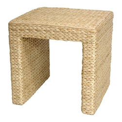 "Oriental Furniture - Rush Grass End Table - Natural - There's a growing trend in American home decor toward the eclectic, unique, and exotic. These amazingly affordable rush grass end tables seem to have caught that wave. Elegant and simple, crafted from ecologically sustainable woven rush grass on kiln dried wooden framing. The beauty and simplicity of the design, as well as the soft, Earthy look and feel of rush grass itself, have helped make these little tables quite popular. The height is right for a lamp next to a sofa or easy chair, and the rustic finish does not scratch or dent as easily as wood furniture. The term ""shabby chic"" is sometimes used for natural fiber furnishings, and we think it makes sense for these low cost, high quality end tables."