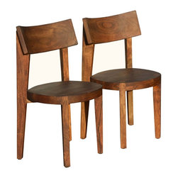 Sierra Living Concepts - Sierra Modern Wood Dining Chair Set Of 2 - Here is a chair you can fall in love with. It's slightly rustic with great lines and contemporary / transitional styling. It's has Acacia wood to thank for its unique wood grain and color. It's a perfect companion to any of our line of contemporary Acacia wood tables. It's durable and easy to care for. And it comes pre-assembled, just wipe with a clean cloth.