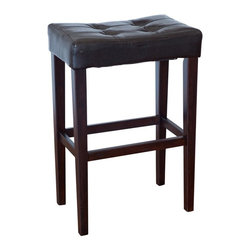 Finley Home - Palazzo 29 Inch Saddle Bar Stool - Brown - WSMP11-B29 - Shop for Stools from Hayneedle.com! Bring happy hour to your home anytime with the Palazzo 29 Inch Saddle Bar Stool - Brown. Featuring durable wood construction this stylish bar stool has a square tufted seat upholstered in luxurious faux leather for added comfort and style. The backless and armless design allows you to tuck it away neatly under your table or bar to save space. The sleek straight wood frame and legs are finished in dark rich brown for a stylish contemporary look while the foot rest provides stability and support. Weighing just 12 pounds it's light enough to easily move from room to room. Perfect wherever you need extra seating this sturdy wooden bar stool complements a variety of spaces from contemporary to traditional. Please note: This item is not intended for commercial use. Warranty applies to residential use only.About Finley HomeFinley Home was created to ensure that your needs wants and desires regarding home furnishings and decor are met with ease. Offering a well-appointed mix of both current and classic designs all with functional style at exceptionally affordable prices Finley Home's unique pieces and collections are ideal for keeping pace with today's ever-evolving lifestyles. Simple silhouettes understated elegance and versatility define the Finley Home brand and make it one you'll return to for years to come.