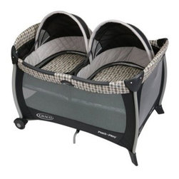Graco Pack n Play Playard with Twin Bassinet - Vance - Designed for parents of twins, the Graco Pack n Play Playard with Twin Bassinet - Vance features two removable bassinets with quilted bumpers and quilted mattress pads which provide a cozy and comfortable space for your babies to nap. Each bassinet is made to hold one child up to 15 pounds. The twin bassinets also have dome canopies so you can easily shield them from bright light making it easier for them to sleep. Easily converted to a playard, the wheels make moving this pack n play simple while the innovative squeeze latch makes folding this playard quick and easy. The mesh on all sides allows for maximum ventilation and the carrying bag makes traveling and storing this pack n play simple.About GracoWhen Russell Gray and Robert Cone joined forces in 1942, baby products were not their focus. The pair originally formed Graco Metal Products in Philadelphia, Penn. The firm created machine and car parts for local manufacturers for 11 years. Gray left in 1953, leaving Cone as sole owner, and Cone got the idea to manufacture baby products from a Graco employee, David Saint, father of 9. Inspired by the idea of Mrs. Saint soothing her babies on the backyard glider, the Graco Swyngomatic was born. The Swyngomatic sold millions, catapulting Graco to become a leader in manufacturing juvenile products in the process. Since then, Graco has set the industry standard with products like the Pack N' Play and the Travel System. Graco is one of the world's best known and most trusted juvenile products companies. Product safety, quality, reliability, and convenience are their main sources of pride, and are recognized by parents and parenting authorities alike.