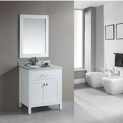 "Design Element - Design Element London 30"" Single Vanity - Pearl White - The London 30"" Single Sink Vanity Cabinet, constructed with solid wood, provides a contemporary design perfect for any bathroom remodel. The storage in this free-standing vanity includes one flip-down shelf and one double door cabinet each panel accented with brushed nickel hardware. This vanity cabinet is available in an espresso or white finish. You have the option to add a White Carrera Marble Countertop with white porcelain sink, pop-up drain and matching mirror to make your own complete bathroom vanity set.  Features Solid wood cabinet One flip down panel, double door cabinet, satin nickel finish. Soft closing cabinet door ensures you never hear door slam again. Available as a Vanity Set including: White Carrera Marble Countertop, White Porcelain Sink, Pop up Drain, Matching Mirror Faucet(s) not included Manufacturer provides 1 year warranty How to handle your counter"