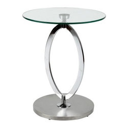 Kay Side Table - The Kay Side Table is a modernly elegant statement piece for your home. This beauty features an open oval base made of brushed stainless steel. It's topped with thick, clear tempered glass round top. About Whiteline:With a product line that includes prime leather sofas, comfortable beds, and elegant dining room furniture, Whiteline delivers modern and contemporary styles along with cozy comfort. Whiteline has 15 years of experience building furniture, along with a worldwide network of skilled manufacturers to help them give you the best value for your money. And their huge collection of designs is sure to have something to suit your contemporary tastes.