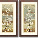 Amanti Art - Asia Jensen 'Blossom Canopy- set of 2' Framed Art Print 14 x 26-inch Each - Bring an earthy flair to your decor with this exquisite art set by Asia Jensen. With subtle shades of brown and grey, Jensen sets the stage for floral-inspired elegance.