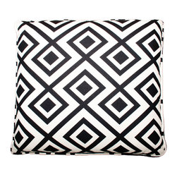 Designer Fluff - Black White Geo Pillow, 12x20 - Bold geometrics are a hot design trend right now. Get the look and update your room with this graphic black and linen white pillow. It comes in your choice of sizes, inserts and edges so you can get exactly what you want.