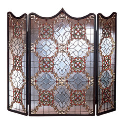 "Meyda Lighting - Meyda Lighting 48092 44""W x 36""H Victorian Beveled Folding Fireplace Screen - Meyda Lighting 48092 44""W x 36""H Victorian Beveled Folding Fireplace Screen"