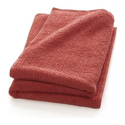 Ribbed Coral Bath Sheet - Broad borders of vertical ribbing with flat banded edges finish our spa-style coral towels in absorbent 500-gram cotton.
