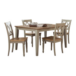 Liberty Furniture - Liberty Furniture Al Fresco 5 Piece 74x40 Dining Room Set w/ X-Back Side Chairs - Al Fresco or dining in the outdoors brings to mind an open air natural feel. Al Fresco Casual Dining is a fresh approach to a casual rustic style. Two tone finish with tops of the tables in driftwood and the base in a taupe finish. Tops feature planked design with round/square peg accents. Tapered block legs carry the casual rustic theme of the group. Butterfly leaf square counter table has a pedestal storage base with a storage drawer and top shelving. What's included: Dining Table (1), Side Chair (4).