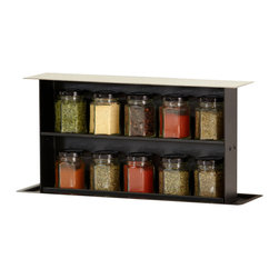 SBOX - SBOX - pop-up storage systems, 4.5 X 16.75 X 27.625, Sbox Spice - SBOX pop-up storage works on a patented counterbalance system. A simple press and release activates the mechanism and up pops your SBOX. The system allows you to store everyday items into the recesses of your counter when not in use and eliminates the clutter. Simple to install and offers several mounting options including using a matching blank of your countertop to fully conceal the unit. The SBOX includes everything you need to install and features a premium grade stainless steel top and collar. SBOX is the next revolution in kitchen storage. The SBOX SPICE includes 10 glass jars which fit on the two included shelves. Ideal to display and access your primary spices when you needed.