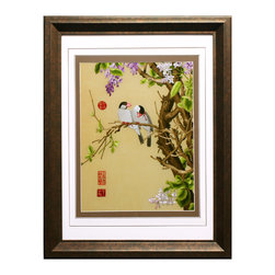 China Furniture and Arts - Flowers and Birds Silk Embroidery Frame - Silk embroidery is a Chinese art form with origins dating back thousands of years. With each piece containing thousands of tiny threads, a composition requires an extremely high level of skill to create. The classic Chinese imagery features two birds resting on a tree branch. The reflective nature of the silk thread allows the vibrant color tones to stand out beautifully in light.  Museum quality hardwood framing makes this piece ready to hang and make a statement on any wall it is placed.
