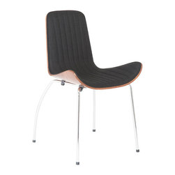 Eurostyle - Eurostyle Curt Side Chair in Black - Walnut - Chrome [Set of 2] - Side Chair in Black - Walnut - Chrome belongs to Curt Collection by Eurostyle Seat front upholstered in polyester fabric. Outside back high quality walnut veneer. Chromed steel base. Requires assembly. SW: 21.5 SD: 22 SH: 18.5. Durable woven fabric. High quality walnut veneer. Comfortable contoured seat. Stylish contemporary design. Width: 21.5. Side Chair (2)