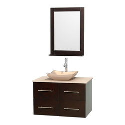 """Wyndham Collection - Centra 36"""" Espresso Single Vanity, Ivory Marble Top, Avalon Ivory Marble Sink - Simplicity and elegance combine in the perfect lines of the Centra vanity by the Wyndham Collection. If cutting-edge contemporary design is your style then the Centra vanity is for you - modern, chic and built to last a lifetime. Available with green glass, pure white man-made stone, ivory marble or white carrera marble counters, with stunning vessel or undermount sink(s) and matching mirror(s). Featuring soft close door hinges, drawer glides, and meticulously finished with brushed chrome hardware. The attention to detail on this beautiful vanity is second to none."""