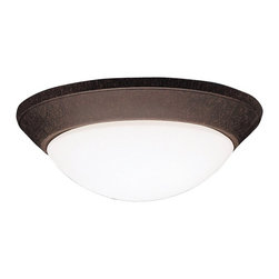 BUILDER - BUILDER Builder Soft Contemporary/Casual Lifestyle Flush Mount Ceiling Light X-Z - This Kichler Lighting flush mount ceiling light features a warm Tannery Bronze finish that compliments the contemporary lines and curves. A soft toned satin etched cased opal twist on glass shade gives it a look that will effortlessly compliment a variety of spaces. 90&#176: C wire rated. U.L. listed for damp locations.