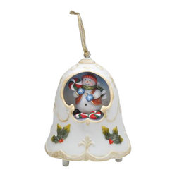 ATD - 3 7/8 Inch Musical Christmas Bell with Snowman Center Ornament - This gorgeous 3 7/8 Inch Musical Christmas Bell with Snowman Center Ornament has the finest details and highest quality you will find anywhere! 3 7/8 Inch Musical Christmas Bell with Snowman Center Ornament is truly remarkable.