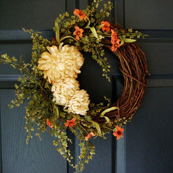 "Fall Wreath with ""Tea-Stained"" Mums by HomeHearthGarden - Wreath featuring artificial 'tea stained' mums (vintage look) and maidenhair fern adorned with small floral accents on grapevine. Excellent as a front door wreath and floral wall decor."